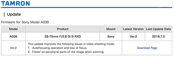 Tamron releases 28-75/2 8 firmware update - FM Forums