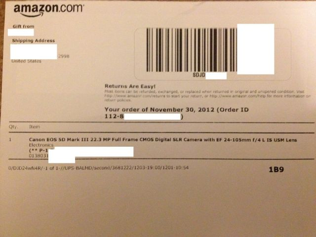 gift receipt from Amazon for 5D mark III kit